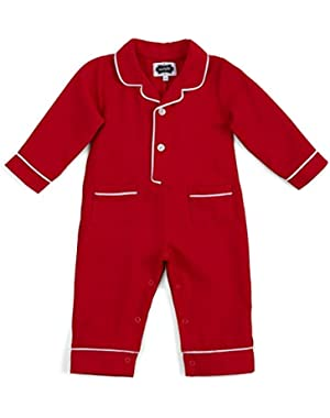 Unisex Baby Red One-Piece Flannel Pajamas with White Piping Trim