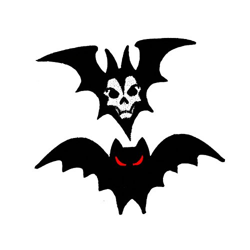 PP Patch Set 2 Vampire Dracula Bat Man Halloween Never Die,Halloween Bat Patch for Bags Jacket T-Shirt Embroidered Sign Badge Costume DIY Applique Iron on Patch ()