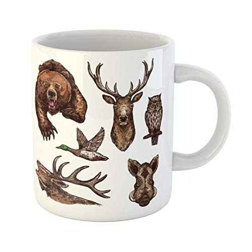 Semtomn Funny Coffee Mug Wild Animals and Birds Sketch of Grizzly Bear Elk 11 Oz Ceramic Coffee Mugs Tea Cup Best Gift Or Souvenir