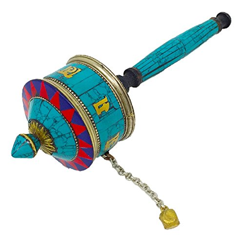 Tibetan Buddhist Symbols Om Mani Padme Hum Hand Crafted Handheld Size Spinning Spiritual Prayer Wheel Brass With Tibetan Stones Inlay (Mani Wheel) (Small (Mani Wheel)
