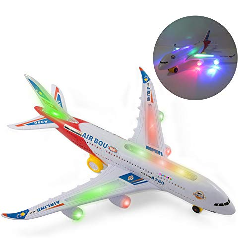 - WonderPlay Electric Airplane Toy Kids Toy Plane Airbus with Flashing Lights, Realistic Aircraft Jet Engine Sounds, Changes Direction Auto, Bump and Go Action,Red