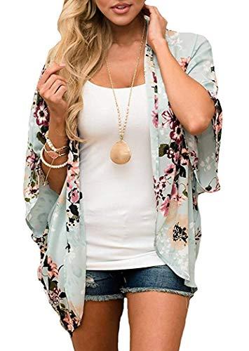 HAPPYSTORE Women Cardigan Chiffon Loose African Blouse Floral Print Kimono Sheer Summer T-Shirt -