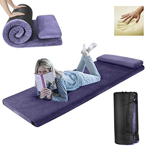 - AONESY Sleep Memory Foam Camping Floor Mattress with Pillow Widen Adult 75