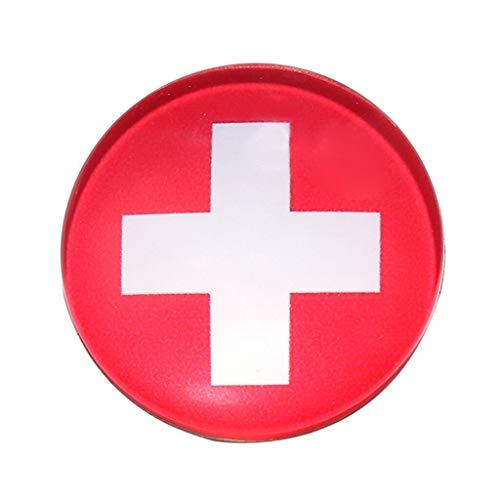 3cm/1.2 Diameter Pin Button Badges 32 Different Team Flag Brooch | Item Color - Switzerland