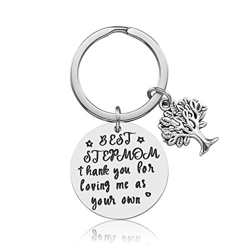Step Mother Mom Keychain Gifts - Mom Gift idea for Mothers Day from Husband Daughter Son Kids, Stainless Steel Jewelry, Birthday Gifts for Women Wife Christmas Valentines Gifts (C)
