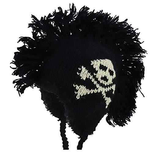 Armycrew 100% Wool Skull Crossbones Knitted Mohawk Winter Ski Beanie - Black