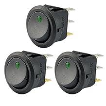 AutoEC New 3pcs Car Truck Rocker Toggle LED Switch Green Light On-off Control 12V (3pcs, Green)