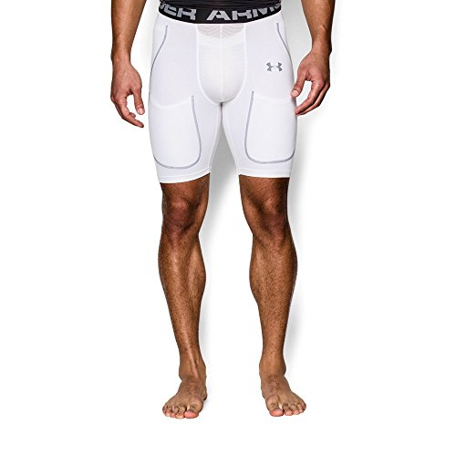 Under Armour Men's 6-Pad Football Girdle, White (100)/Steel, Large ()