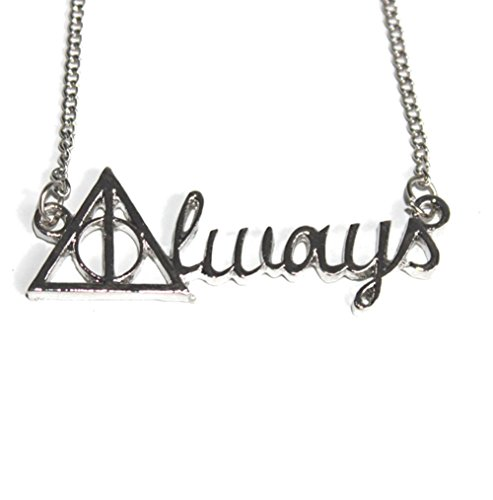 [Harry Potter Deathly Hallows Always Quote Pendant Necklace - Silver] (Replica Makeup)