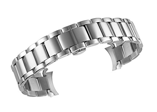 Hamilton Solid Wrist Watch - 20mm Men's Deluxe Vintage Watch Band Bracelet in Silver Curved End 316L Stainless Steel Deployment Clasp