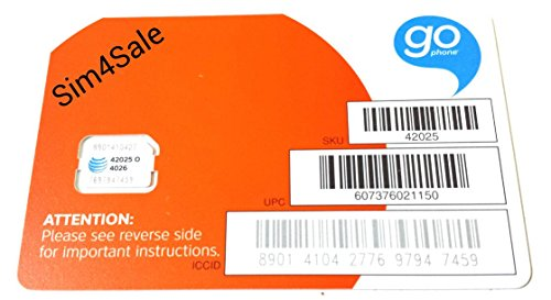 At&t Nano Go Phone Sim Card & Iphone Eject Pin Included (Go Phone Sim Card)