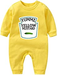 YSCULBUTOL Baby Bodysuit Ketchup Mustard Funny Baby Twins Outfits Baby Girl Twins Set