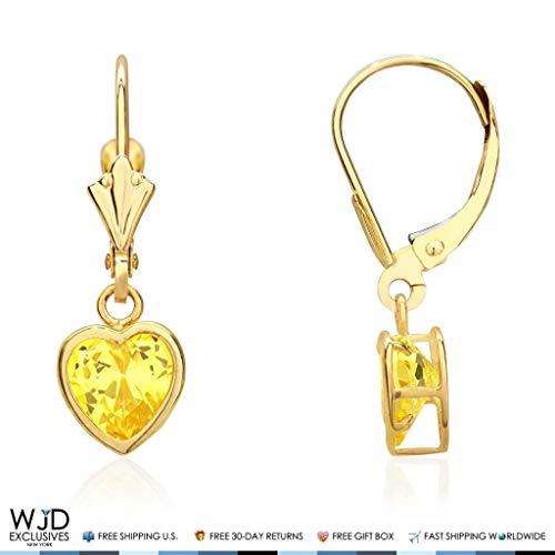 14K Solid Yellow Gold Bezel Set Heart Shaped Citrine Dangle Lever Back Earrings