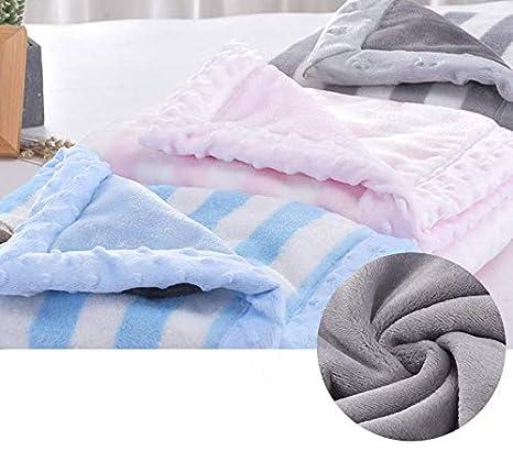 Babydecke Rosa Herz LANDOR Doppelschichten Flanell weiche Babydecke Winter warme Streifen Pl/üsch Kleinkind Decke bequeme Kinderwagen Decke