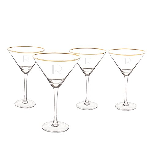 Cathy's Concepts 1381G-4-R Personalized Gold Rim Martini Glass Set (Set of 4), Clear/Gold by Cathy's Concepts