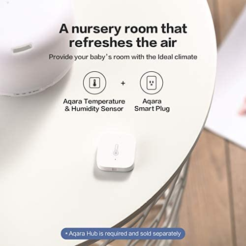 Aqara Temperature and Humidity Sensor, REQUIRES AQARA HUB, Zigbee Connection, for Remote Monitoring and Smart Home Automation, Wireless Thermometer Hygrometer, Compatible with Apple HomeKit, Alexa 41UMoE2VLyL