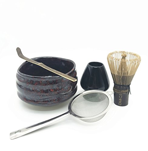 ries Kit Include 5 items-100 Prongs Bamboo Whisk Chasen,Bamboo Scoop,Stainless Steel Tea Filter and Ceramic Matcha Bowl & Whisk Holder (Black) (Ceremonial Tea Bowl)