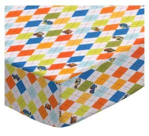 SheetWorld Crib Sheet Set - Argyle Transport - Made In USA