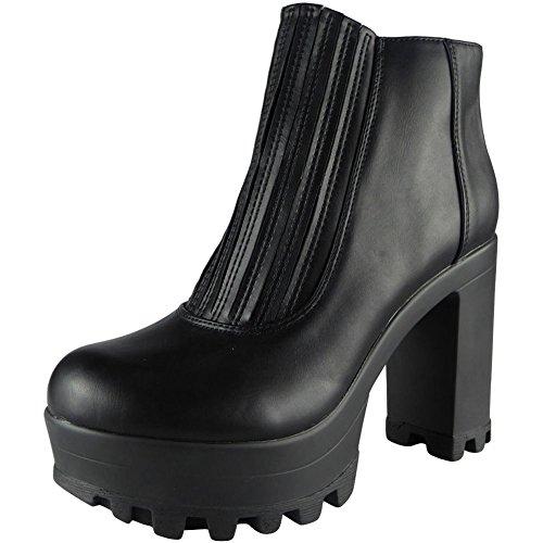 Damen Elastisch Chelsea Klobig Hacke Knöchel Stiefel Größe 36-41 STYLE NO: 4