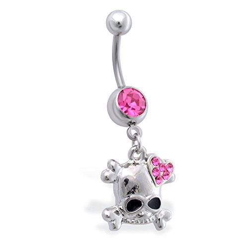 Pink Jeweled Heart (MsPiercing Jeweled Navel Ring With Dangling Skull With Jeweled Heart, Pink)