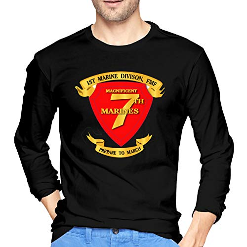 (JANGUEP 7th Marine Regiment Men's Long Sleeve Cotton Jersey Shirt Black)