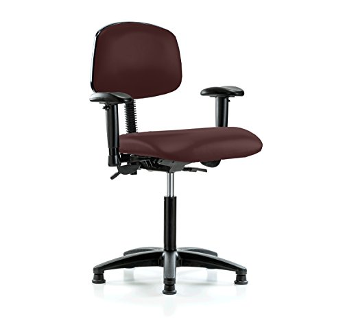 Perch Multi Task Swivel Chair with Stationary Caps, Workbench Height, Burgundy Vinyl (Task Burgundy Chair Multi)
