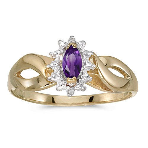 14k Yellow Gold Marquise Amethyst And Diamond Ring (Size 7)