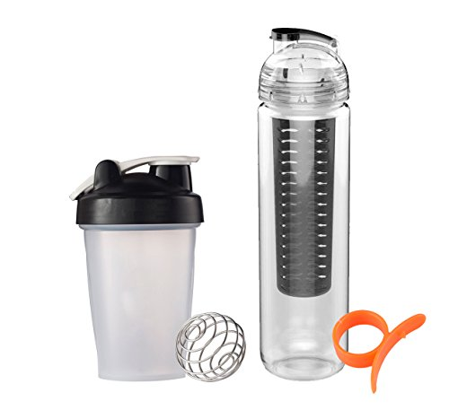 FLASH SALE! Healthy choice Fruit Infuser Water Bottle and Protein Shaker Blender Bottle with FREE Citrus fruit Peeler. Eco-Friendly and BPA free (Black)