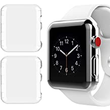 [2 Pack] Apple Watch 38mm Series 3 Case, NSR New Design Slim PC Hard Screen Protector Cover Case for New Apple Watch Series 3 38mm 2017 Release - Clear