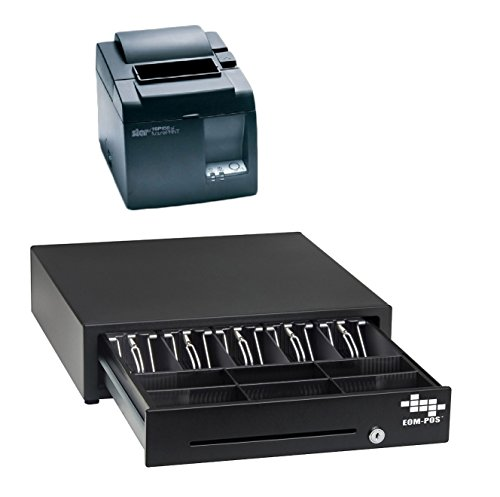 POS Hardware Bundle for Square Stand- Cash Drawer and Thermal Receipt Printer,[Compatible with Square Stand] by EOM-POS