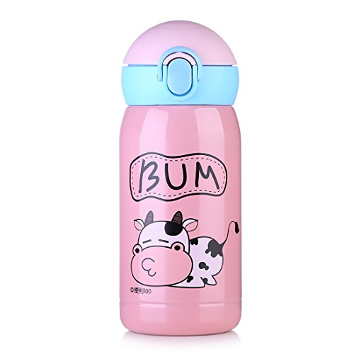 ONEISALL Kids/Child/Adult Straw Bottle, Vacuum Insulated Stainless Steel Thermos, Thermal Hot Insulation Water Flask, Travel Mug, Tea, Coffee, Juice, Milk, Hot/Iced Drinking, Gym, Outdoor, Ca (Pink)
