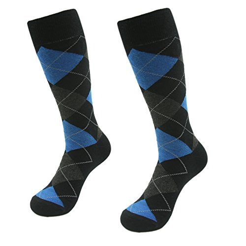 Groomsmen Golf (Mid Calf Crew Dress Socks, SUTTOS Men's Fashion 2 Pack Blue Grey Black Check Pane Argyle Pattern Charged Cotton Rich Hiking Golf Long Tube Socks, Groomsmen Wedding Thanksgiving Day Christmas Socks)
