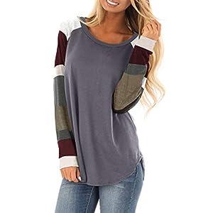 BLENCOT Women's Lightweight Color Block Short Long Sleeve Loose Fit Tunics Shirts Tops