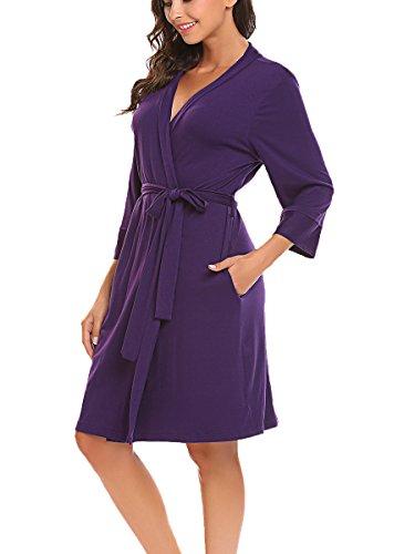 BLUETIME Women's Kimono Robes Cotton Lightweight Robe Short Knit Bathrobe Soft Sleepwear V-Neck Ladies Nightwear (XXL, -