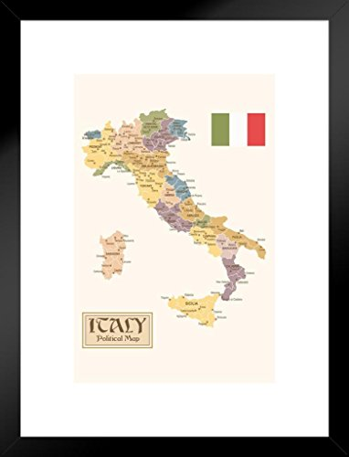 (Poster Foundry Political Map of Italy Regions Provinces States Flag Vintage Style Matted Framed Wall Art Print 20x26 inch)