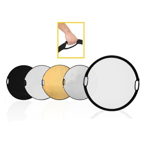 CowboyStudio 32'' Photography Photo Portable Grip Reflector 5-in-1 Circular Collapsible Multi Disc Reflector with Handle, translucent/gold/silver/white/black