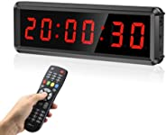 Seesii LED Gym Timer Display Second, Ultra-Clear Interval Timer with Remote, Countdown/Up Wall Clock with Buzz