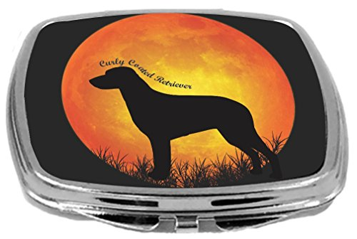 Rikki Knight Curly Coated Retriever Dog Silhouette By Moon Design Compact Mirror
