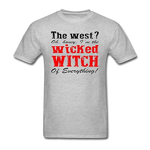 Mens The West Oh Honey I'm The Wicked Witch of Everything Letter Print Tshirt Grey ()