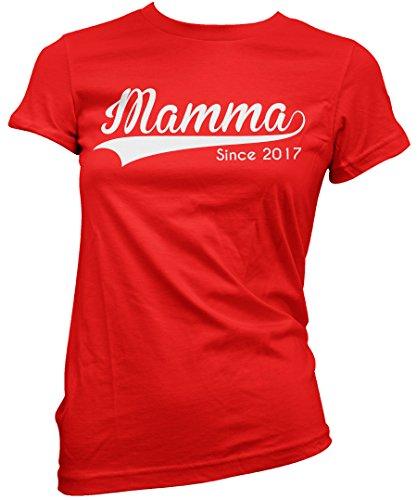 Camiseta Mujer Mamma Since 2017 - Camiseta divertida Madre 100% algodòn LaMAGLIERIA Rosso