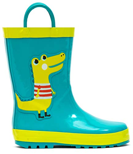 MOFEVER Kids Toddler Boys Rain Boots Rubber Waterproof Shoes Printed Lovely Green Crocodile Dinosaur Animal Pattern Pads Cute with Easy On Handles (Size 13,Green)