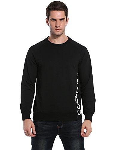 Coofandy Men's Side Zip Pullover Casual Crewneck Sweatshirt,Black,XX-Large from COOFANDY