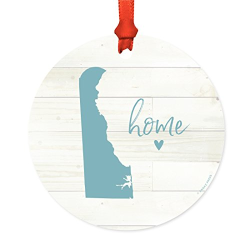 Andaz Press US State Round Metal Christmas Ornament, Rustic Light Wood Print, Delaware Home, 1-Pack, Includes Ribbon and Gift Bag