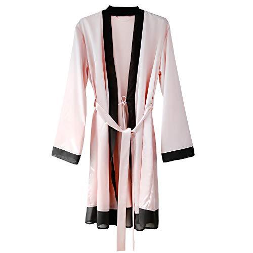 - NEW DANCE Women's Silk Kimono Robe Long Sleeve Satin Sleepwear Bridesmaid Lingerie Wedding Party Robe Pink