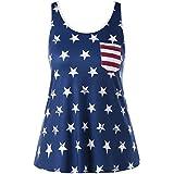 Alluing Women Summer Pocket Tops Vest Fashion Blouse Leisure Flag Sleeveless T Shirt