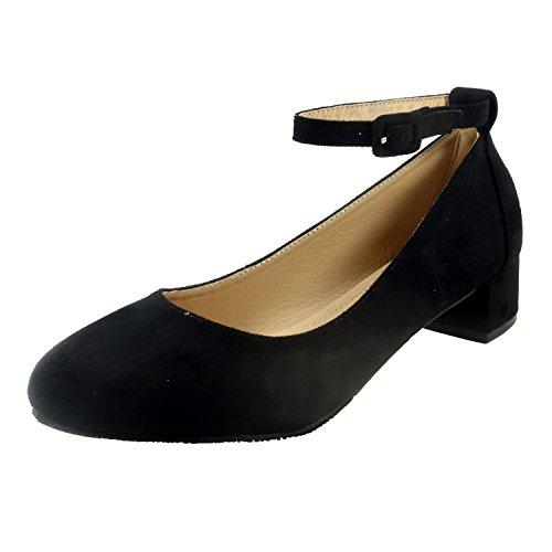 Nova Utopia Women's Ankle Strap Low Heel Dress Pump Shoes,NFLH01 BlackSuede 10