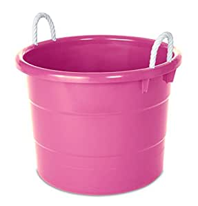 homz plastic utility tub with rope handles 18 gallon pink set of 4 home kitchen. Black Bedroom Furniture Sets. Home Design Ideas