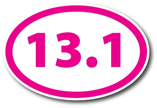 13.1 Half Marathon Pink Oval Car Magnet Decal Heavy Duty Waterproof Magnet Me Up