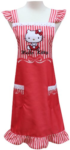 Sanrio Hello Kitty Maid Laced Cooking Craft Apron Adult Stripe RED