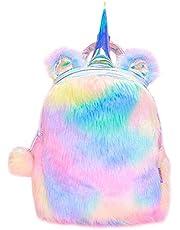 MumooBear Fluffy Unicorn Backpack, MumooBear Cute Plush Unicorn Backpack,Fluffy Mini Unicorn Backpack Bags for Girls Kids Travel Plush Rainbow Schoolbag